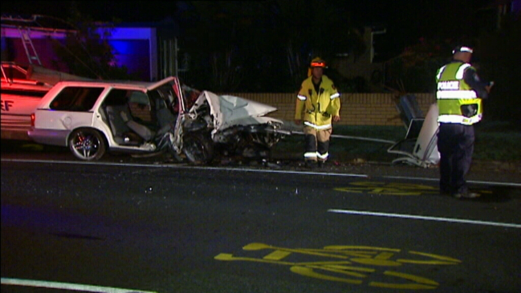 The man lost control of his car and crashed into a power pole. (9NEWS)