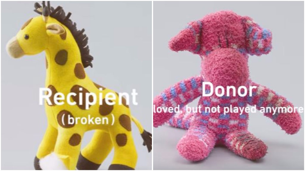 Old toys are used to give a new lease on life to broken toys, educating children about organ transplants. (Second Life Toys)