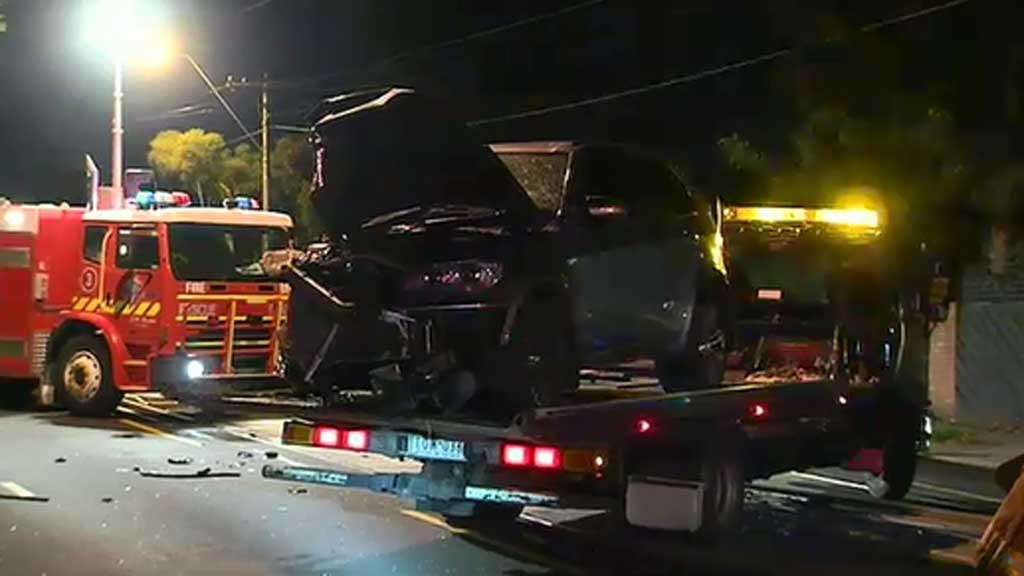 A 58-year-old woman was taken to hospital after the crash. (9NEWS)