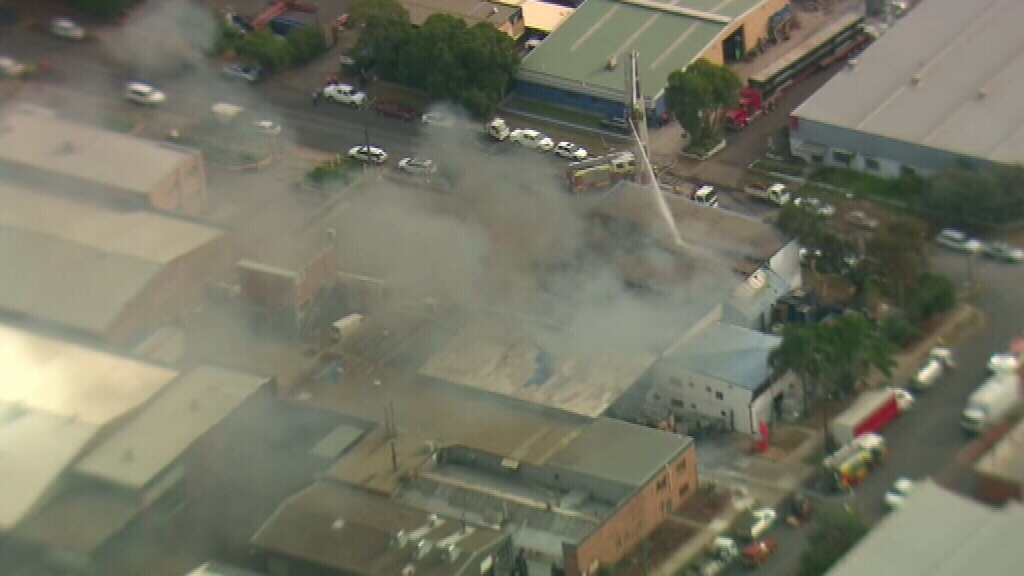 The fire broke out in the Highgate Road factory just before 2pm. (9NEWS)
