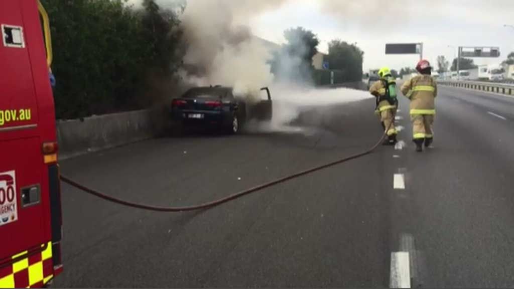 Emergency crews at the scene on the M5 East. (9NEWS)