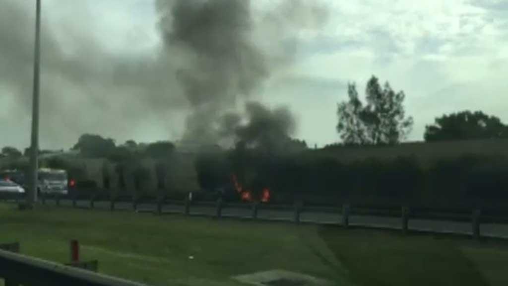 Emergency crews closed the lane to eastbound traffic. (9NEWS)