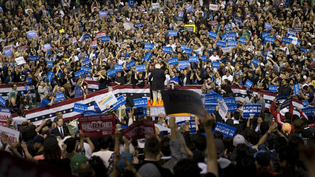 Mr Sanders speaks at a rally in California today. (AAP)