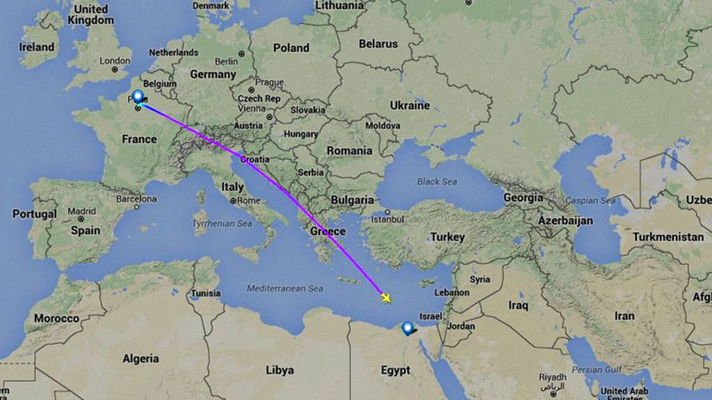 The flight was en route to Cairo from Paris when it vanished from radar. (Twitter/Flightradar24)