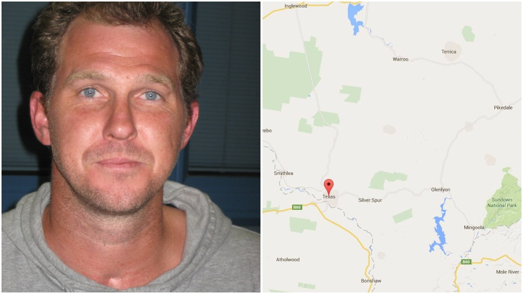 Police are scouring the Texas area for Jamie Hardgraves. (QLD Police and Google Maps)