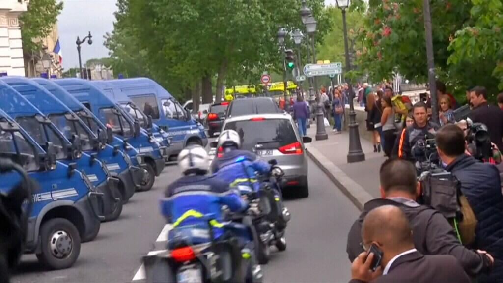 (Paris attacks suspect Salah Abdeslam arrives at court)