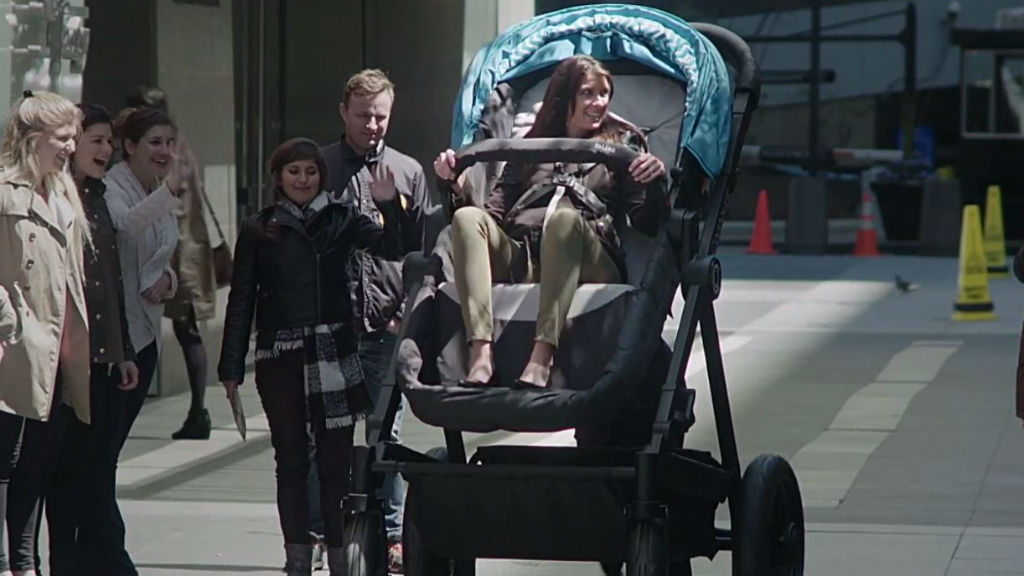 Adults were given the chance to test the stroller. (Contours Baby)