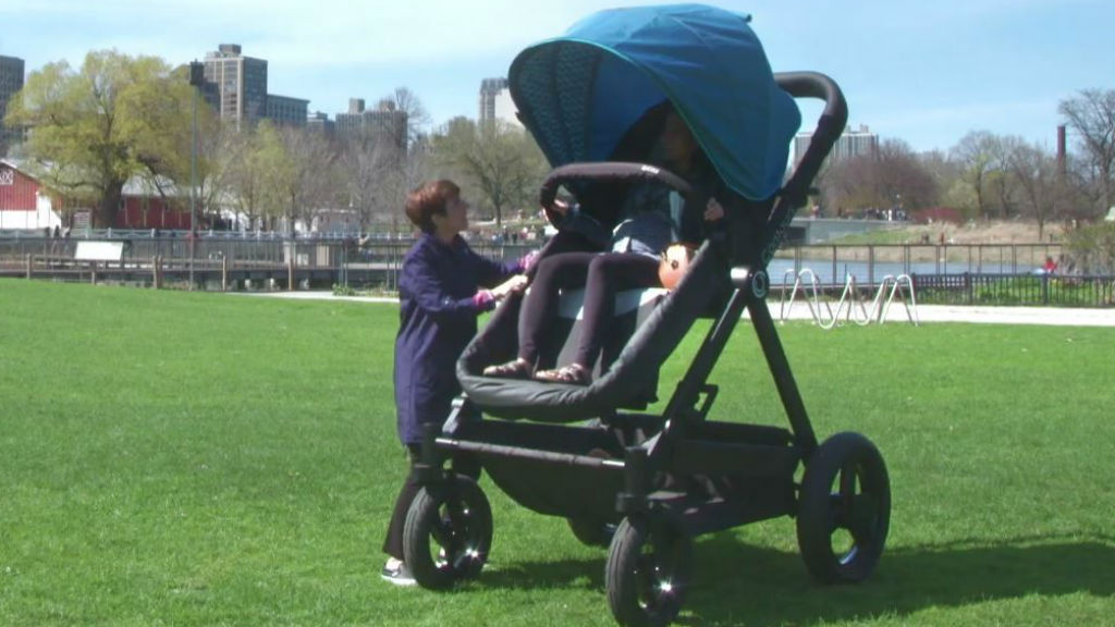 The company created an adult-sized stroller for parents to try. (Contours Baby)