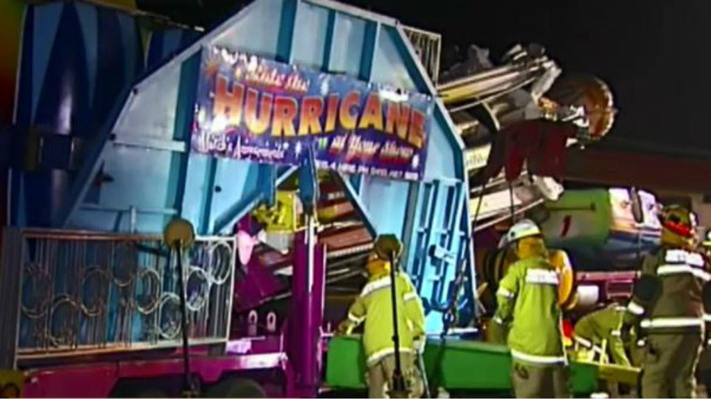 It's believed a piece of the carnival ride came loose and crashed through the car's windscreen. (9NEWS)