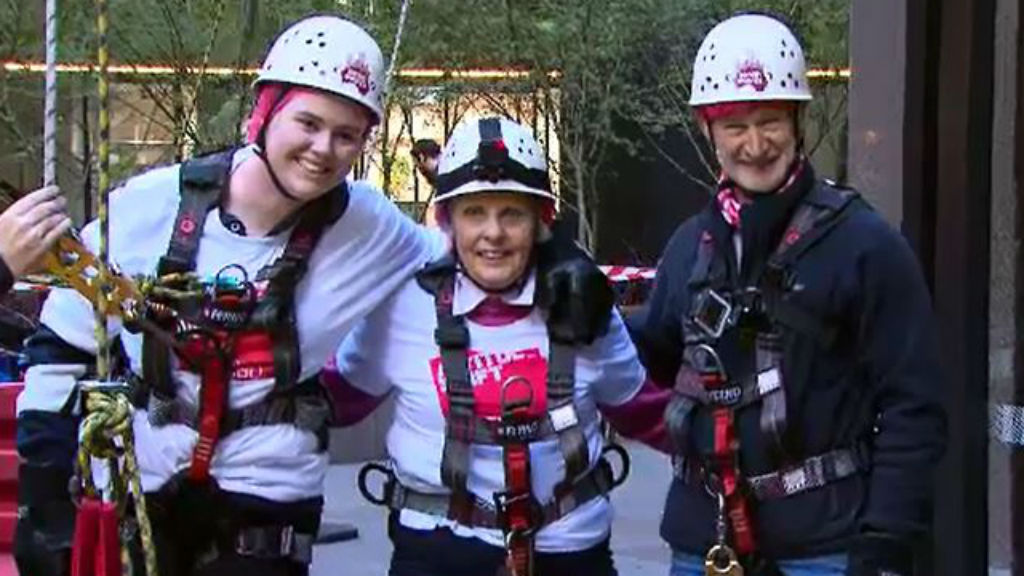 Ms Young (centre) with Altitude Shift participants. (9NEWS)