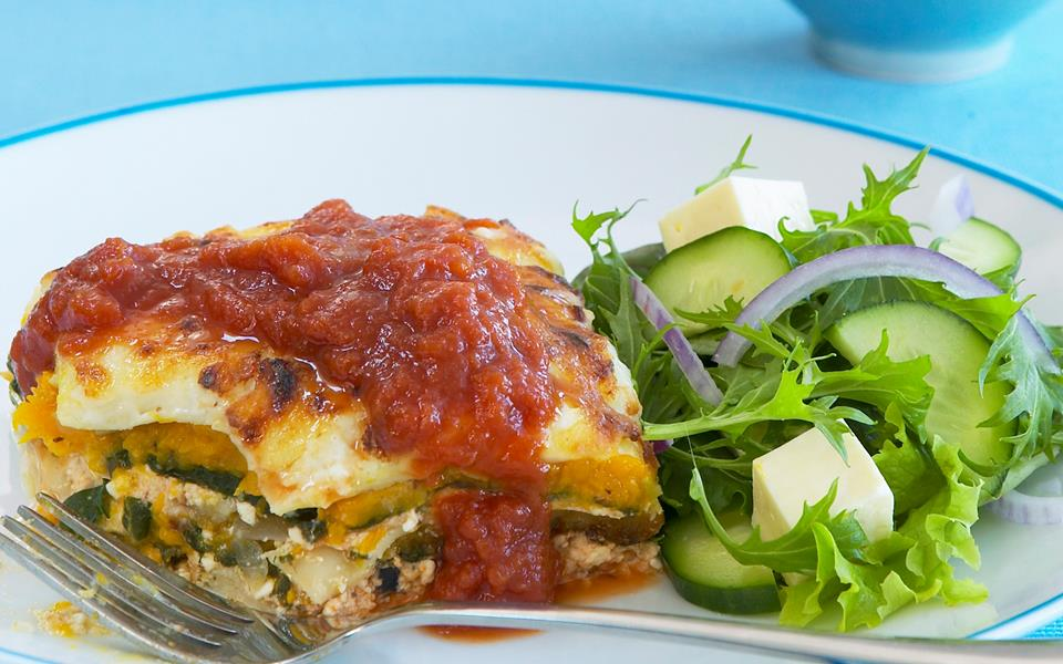 cottage cheese pumpkin and spinach lasagne