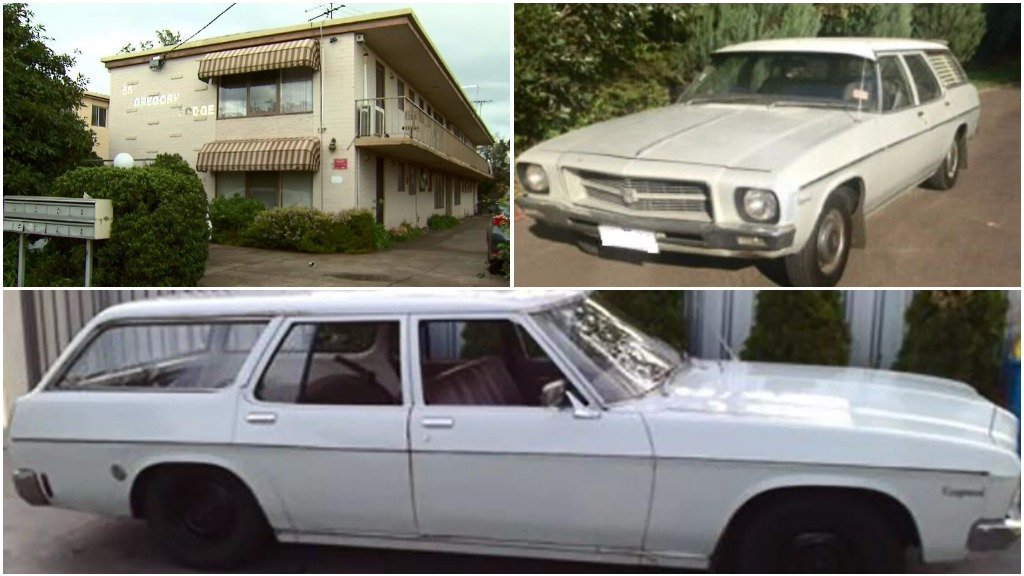 The Preston flats where Kylie lived (top left) and an image of a car similar to the one a witness sighted with a child fitting Kylie's description inside. (Vic Police)