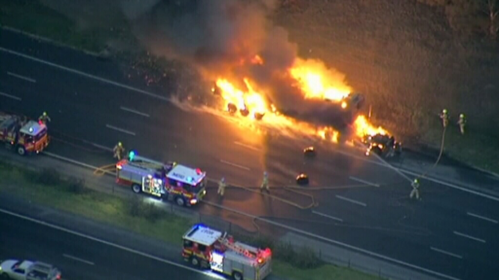 No one has been injured in the fire, according to Victoria Ambulance. (9NEWS)