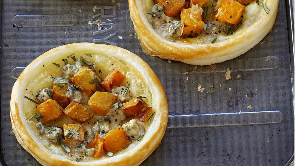Pumpkin and blue cheese tarts