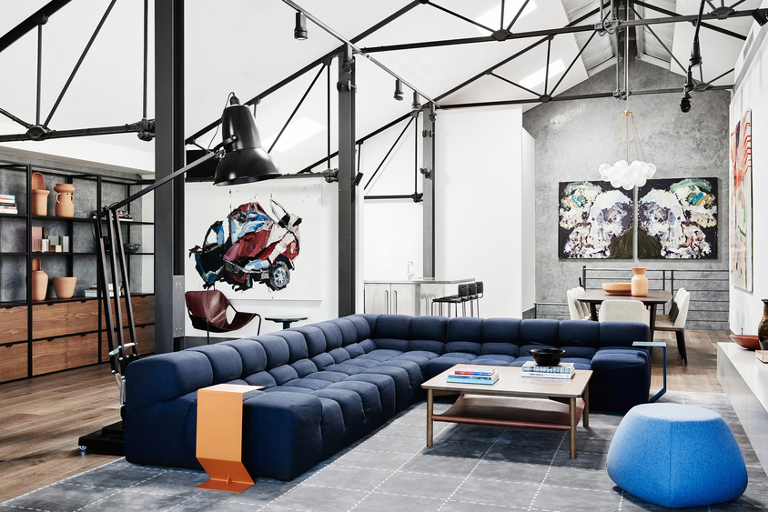 Industrial-style warehouse home with designer detail