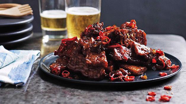 Hot spicy fried tempeh sambal