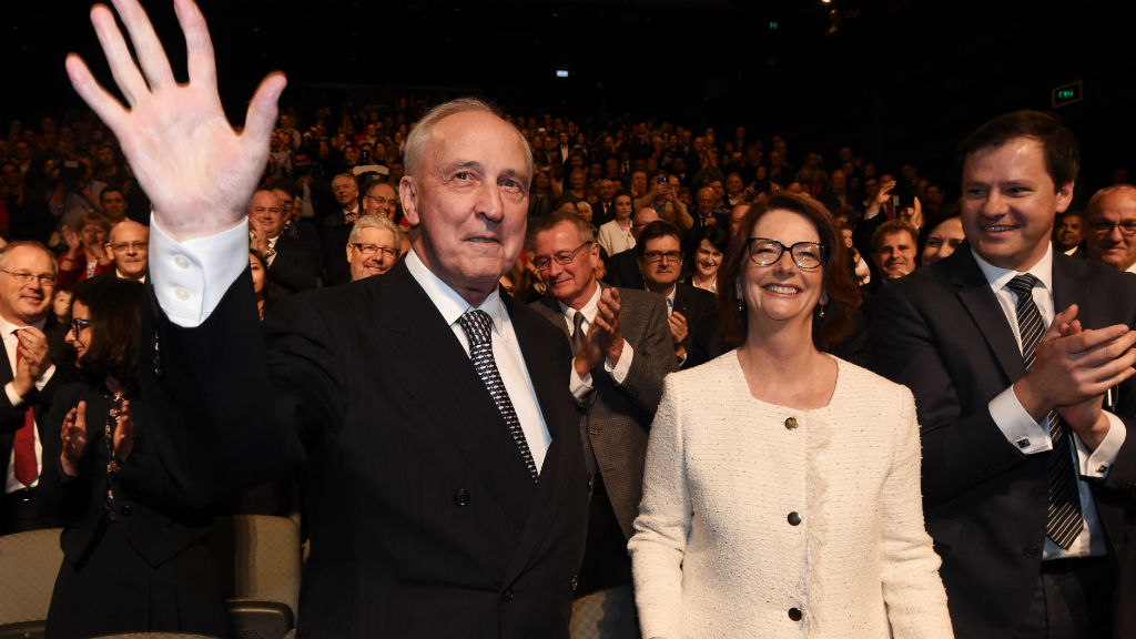 Former prime ministers Paul Keating and Julia Gillard arrive to listen to Leader of the Opposition Bill Shorten at the Labor campaign launch. (AAP)