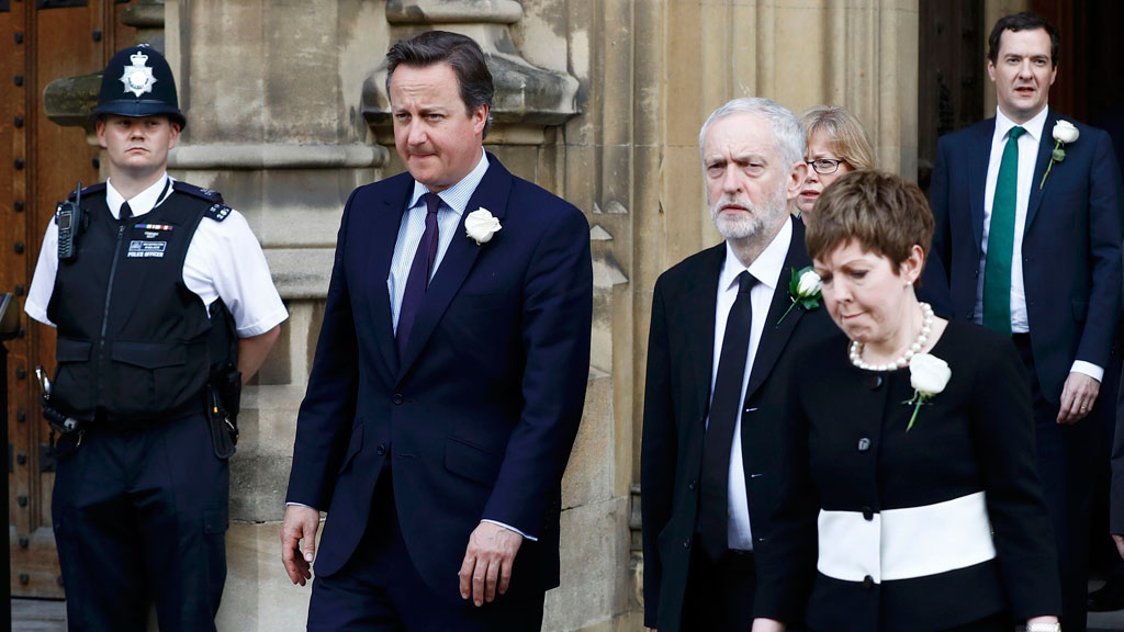 Britain's Prime Minister David Cameron walks from Parliament to St Margaret's Church with Jeremy Corbyn (AAP)