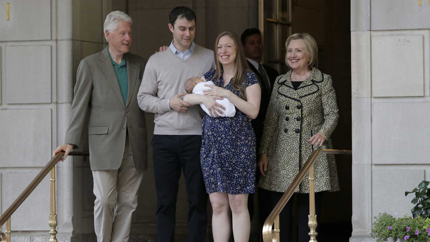 Bill and Hillary Clinton (far left and far right) with son-in-law Mark Mezvinsky and daughter Chelsea Clinton, after the birth of grandson Aidan. (AP)