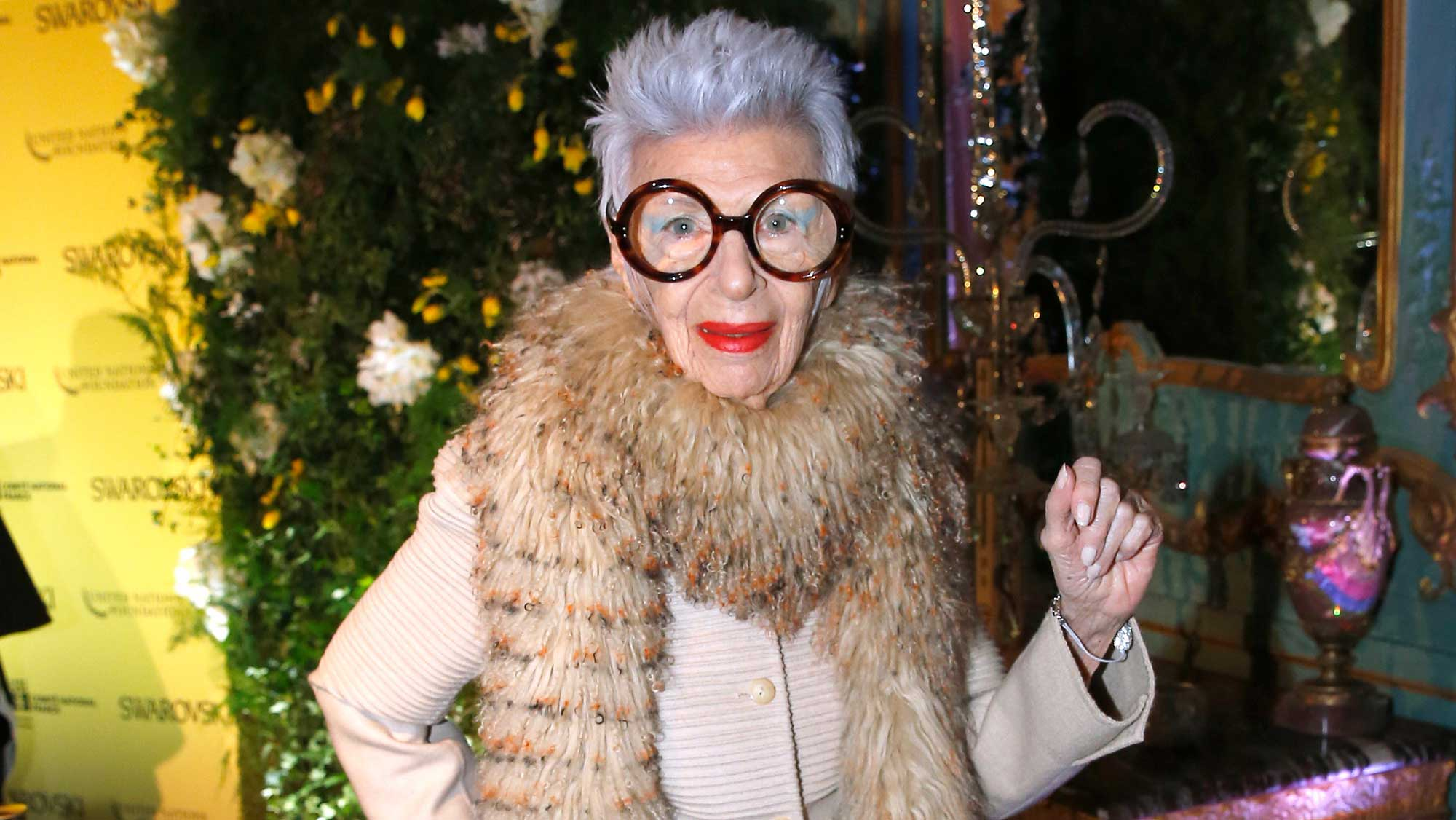 Iris Apfel attends an International Women's Day Luncheon in Paris, March 2016.