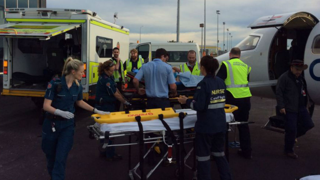 The first patients have arrived in Brisbane from Vanuatu after the horror bus smash. (QLD Ambulance)