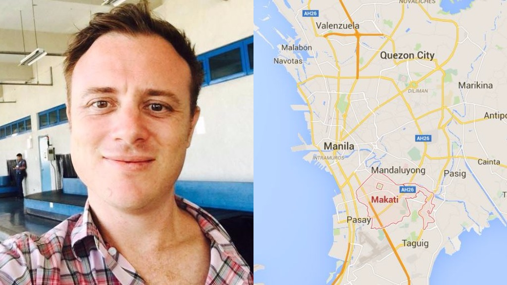 Damian John Berg (left) was arrested in Makati City near Manila. (Facebook and Google Maps)