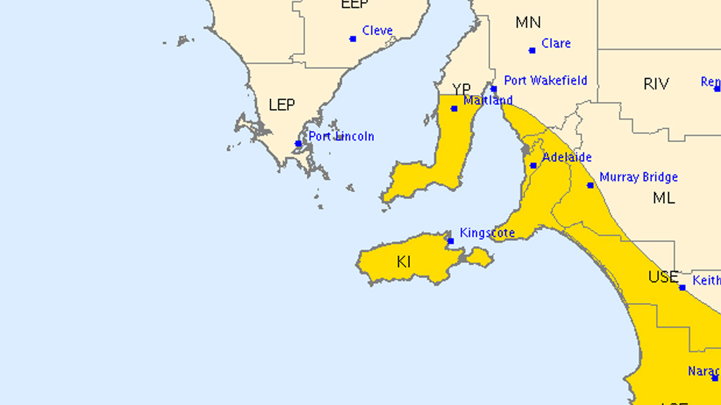 Severe weather warning for parts of South Australia