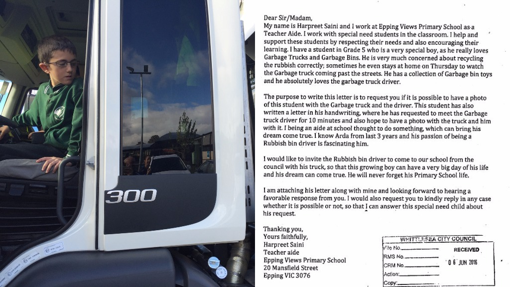 In the Visy truck after the council responded to his request, and the accompanying letter from his teacher's aide, Harpreet Saini. (Supplied)