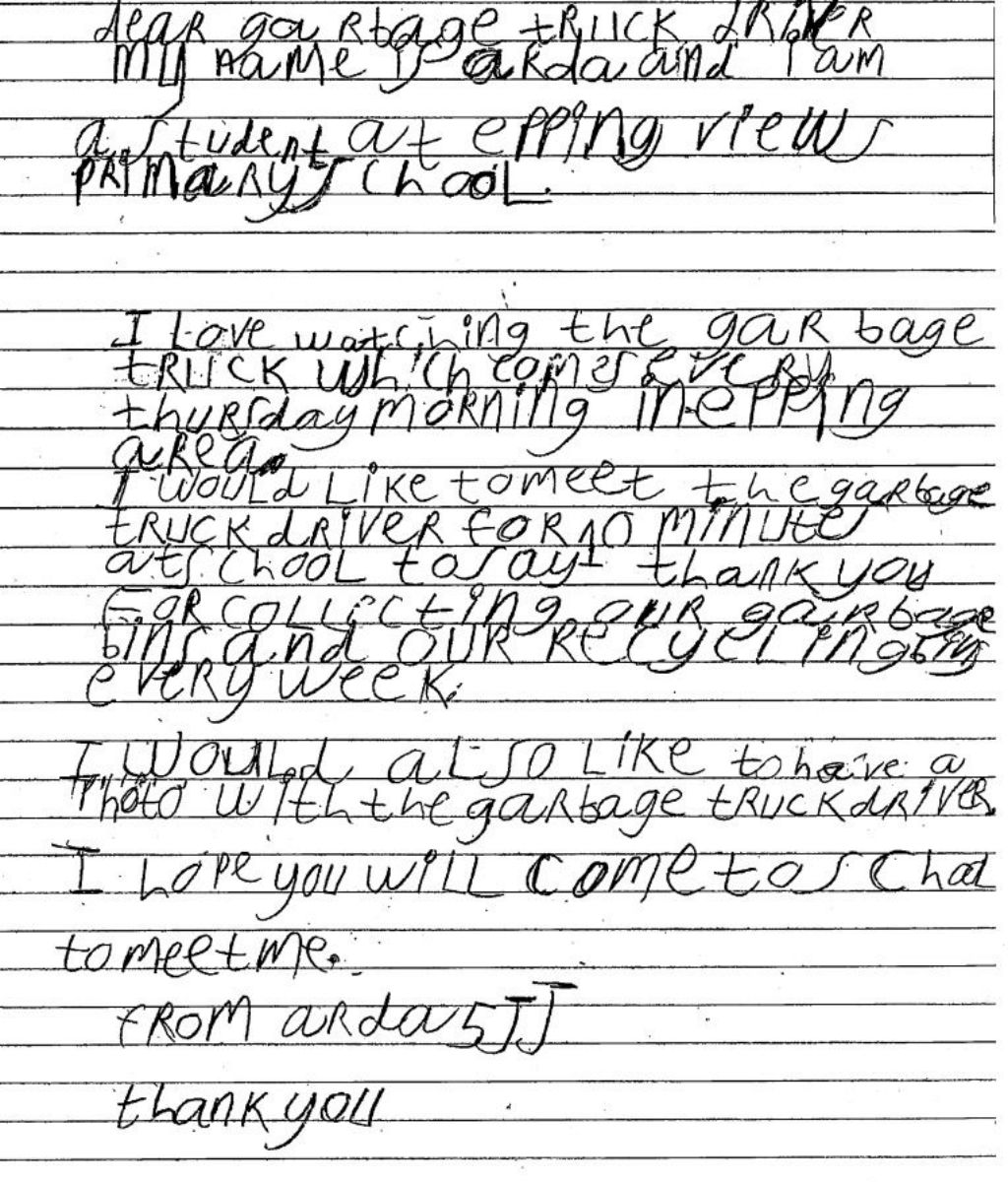Arda's letter to the Whittlesea Council. (Supplied)