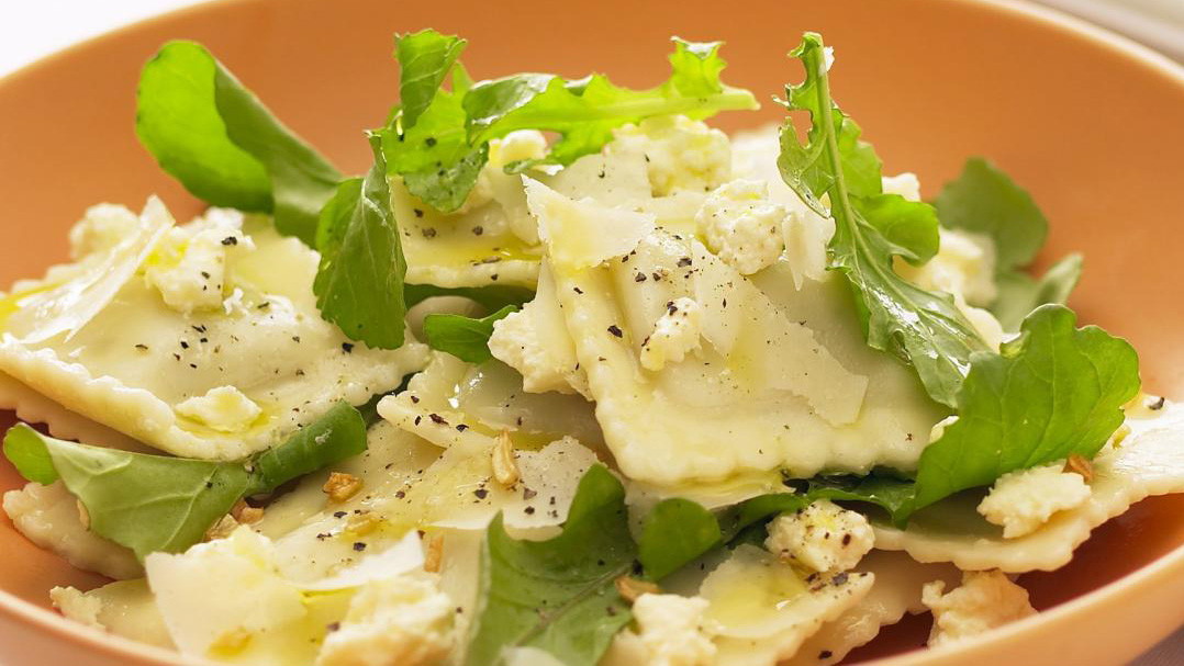 Ravioli with rocket and ricotta