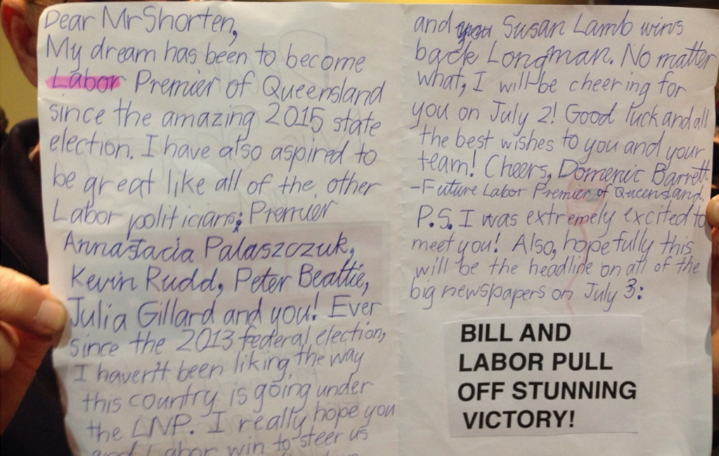 Bill Shorten received a letter from a young man. (AAP)