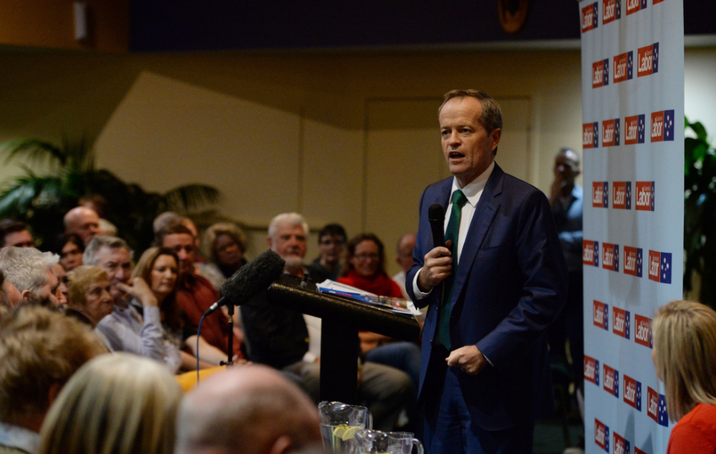 Bill Shorten at the town hall meeting in Caboolture. (AAP)