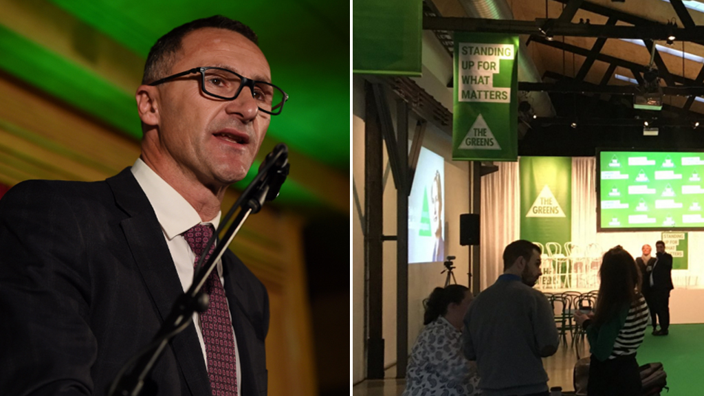 Richard Di Natale, and preparations for the campaign launch. (AAP, Twitter / @RichardDiNatale)