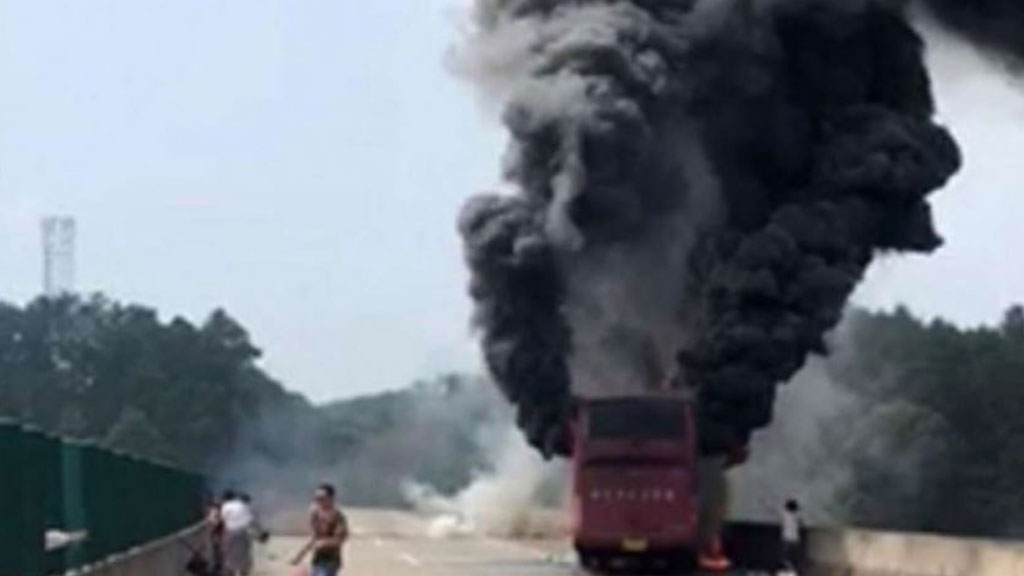 At least 35 killed in fiery bus crash in China