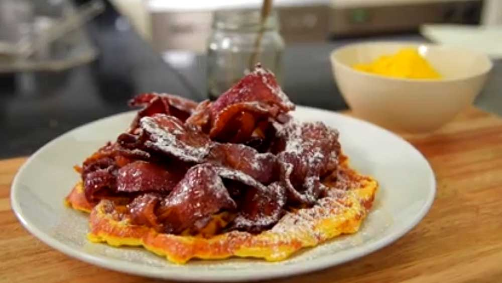 Gregory Llewllyn's homemade waffles with maple bacon