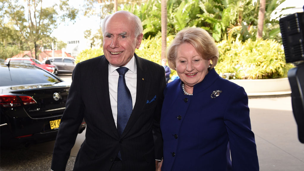 Former Prime Minister John Howard and wife Janette arrive at the Coalition Campaign Launch in Sydney. (AAP)