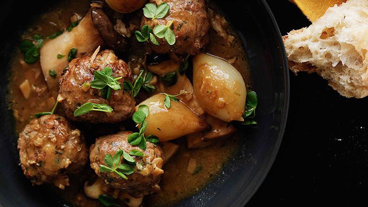 Shane Delia: Braised duck and chestnut kofta with king brown mushrooms