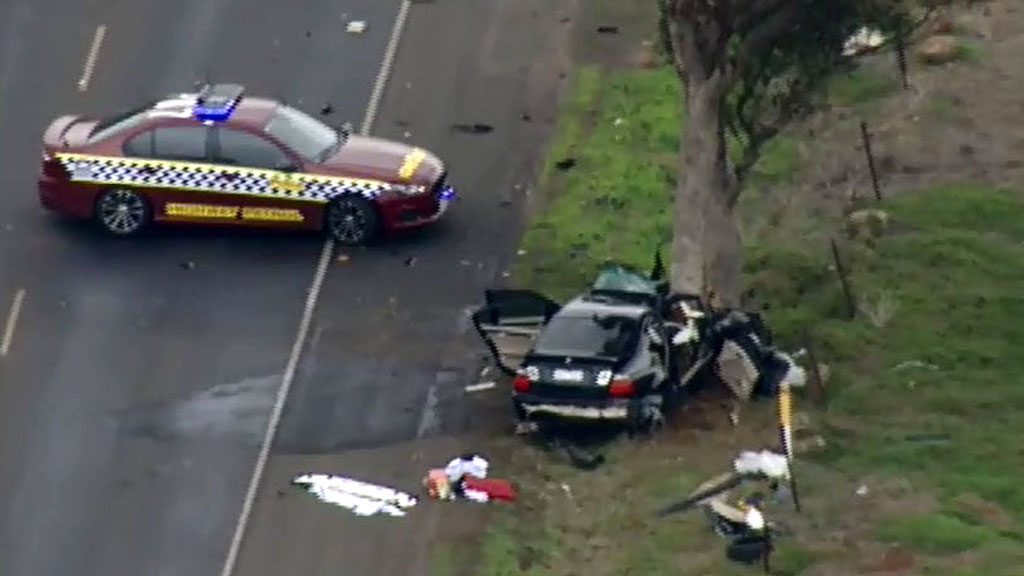 Police had initiated a pursuit shortly before the crash. (9NEWS)