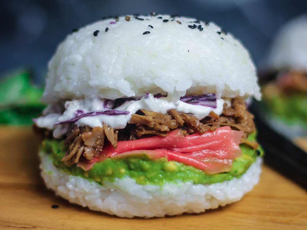 Sam Murphy's vegan sushi burger with shredded teriyaki 'chicken'