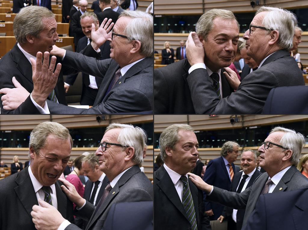Nigel Farage meets with European Union Commission President Jean-Claude Juncker (AFP)