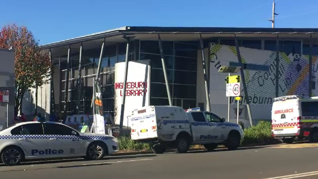 Police and paramedics were called to the library in Ingleburn today. (Supplied)