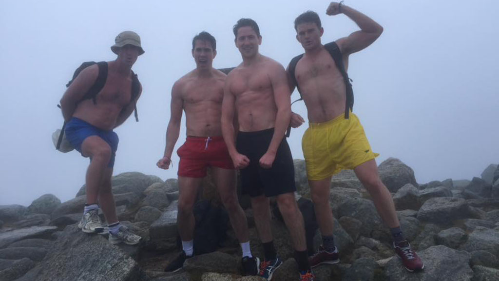 In April the mates did a practice run, climbing Australia's highest peak in shorts. (Kossie in Cossies)