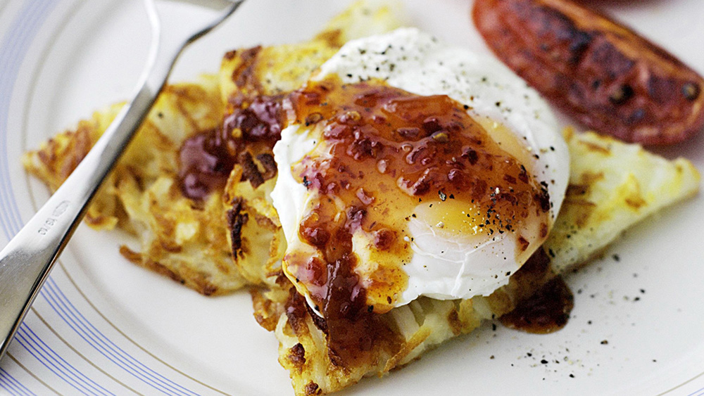 Poached eggs with rosti