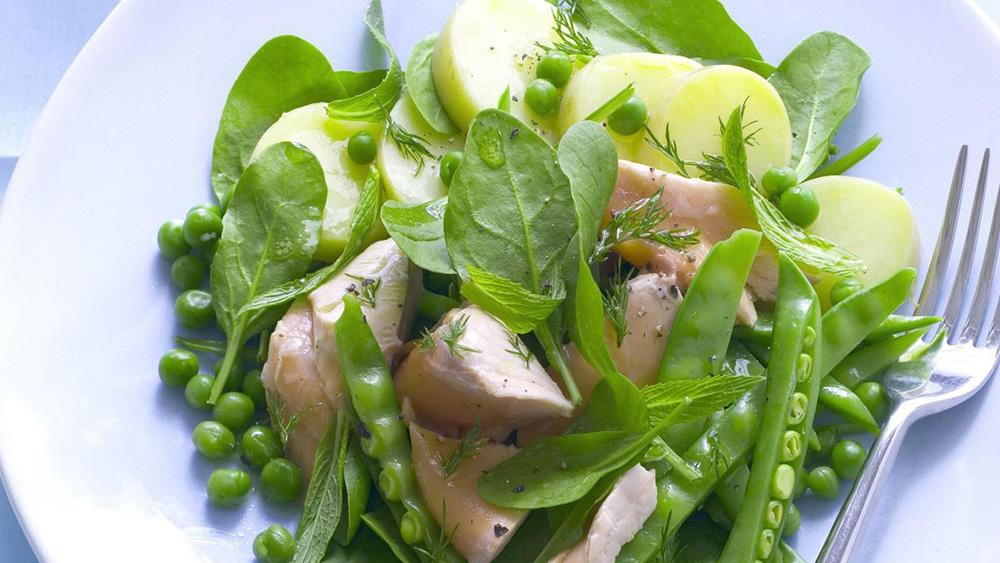 Salmon mixed pea and dill salad