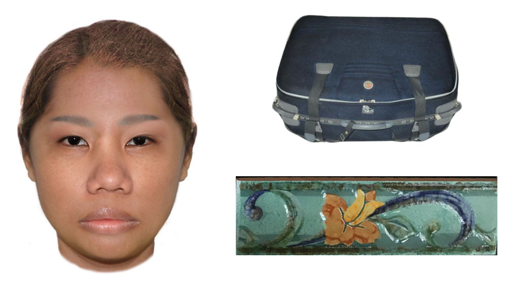 The blue suitcase had an 'SB polo' brand, with a distinct tile. (WA police)