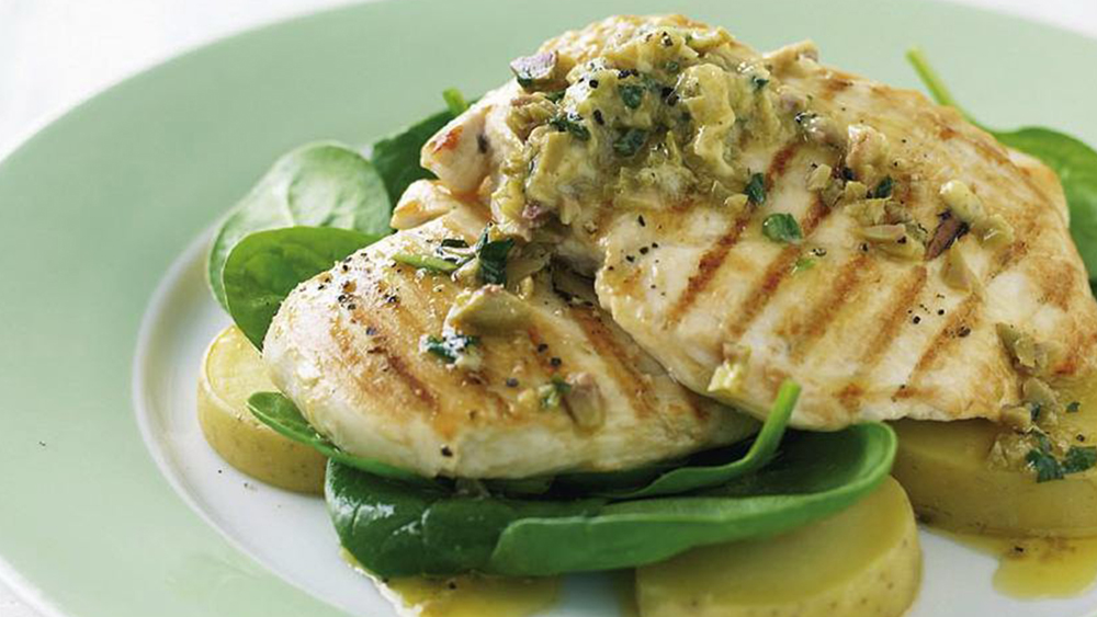 Grilled chicken and green olive