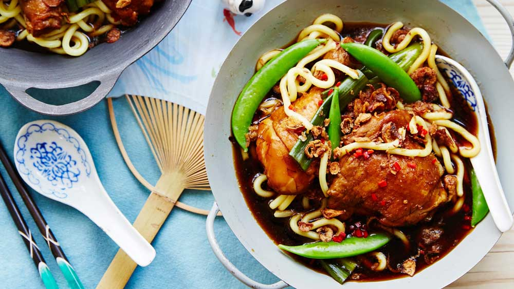 Drunken chicken with egg noodles. Image: Chang's