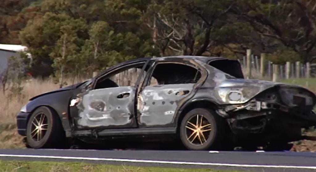 Man dies in fiery crash west of Melbourne