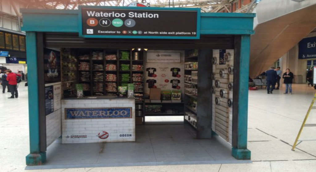 A pop-up shop sells Ghostbuster merchandise.