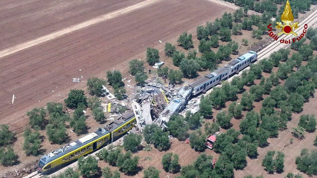 The scene of the crash in southern Italy (Italian Fire Brigade/AAP)